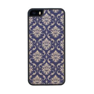 Modelo brillante del damasco de los azules marinos funda de madera para iPhone 5