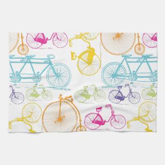 Modelo brillante del neón del color de la biciclet toallas de cocina