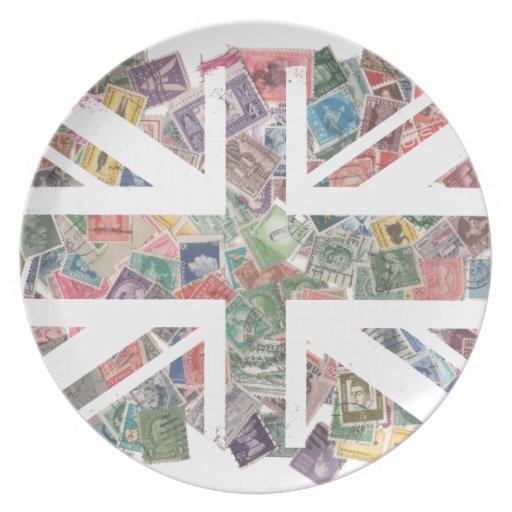 Modelo BRITÁNICO del sello de la bandera del vinta Platos De Comidas