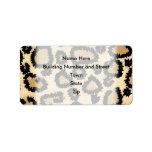 Modelo, Brown y negro del estampado leopardo Etiquetas De Dirección