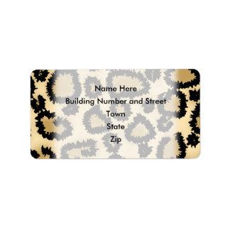 Modelo, Brown y negro del estampado leopardo Etiqueta De Dirección