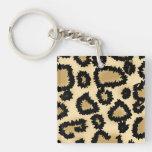 Modelo, Brown y negro del estampado leopardo Llavero
