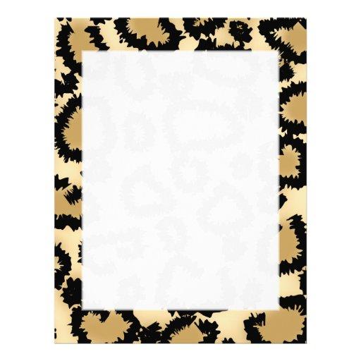 Modelo, Brown y negro del estampado leopardo Plantilla De Membrete