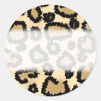 Modelo, Brown y negro del estampado leopardo Pegatina Redonda