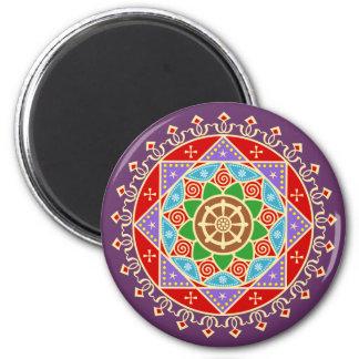 Modelo budista de la mandala con la rueda de imán redondo 5 cm