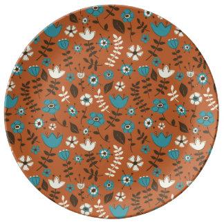 Modelo caprichoso de la naturaleza de las flores platos de cerámica