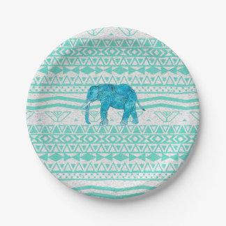 Modelo caprichoso del Azteca del elefante de Plato De Papel De 7 Pulgadas