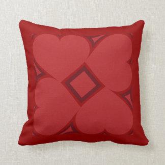 Modelo carmesí de la teja de los corazones almohadas