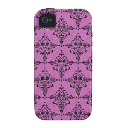 Modelo celestial del damasco del rosa y del negro iPhone 4/4S carcasas