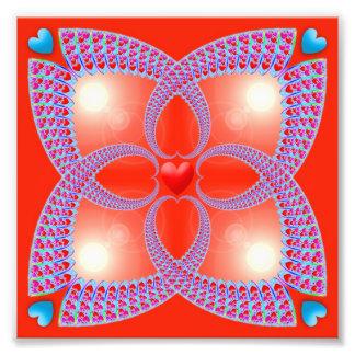 Modelo céltico rojo del fractal del corazón fotografía