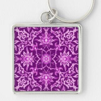 Modelo chino de Nouveau del arte - púrpura Llavero Cuadrado Plateado