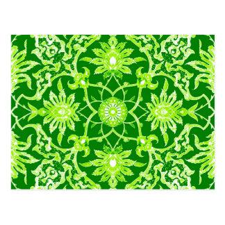 Modelo chino de Nouveau del arte - verde esmeralda Postales