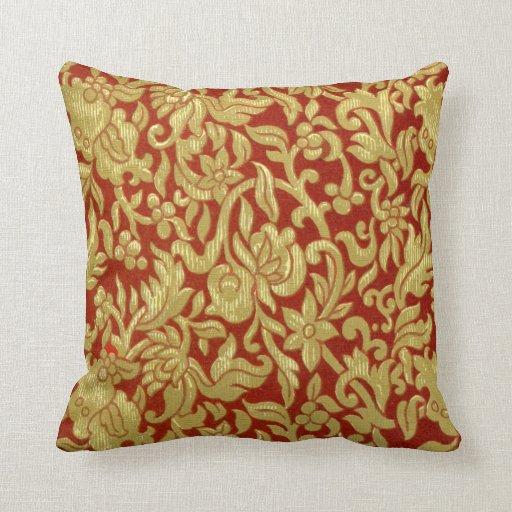 Modelo chino del rojo y del oro cojin