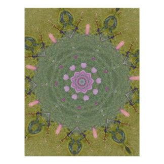 Modelo circular rosado verde del caleidoscopio de membrete personalizado