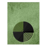 Modelo circular verde y negro de plata del postal