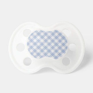 Modelo clásico a cuadros de la guinga azul chupetes para bebés