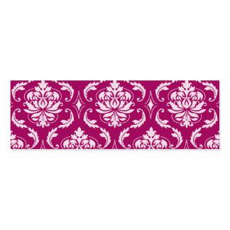 Modelo clásico blanco Rojo-Violeta del damasco Tarjetas De Visita Mini