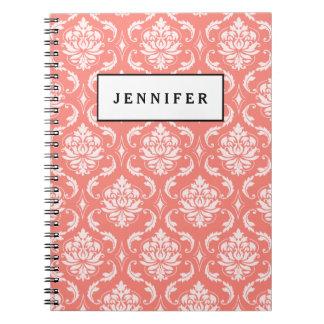 Modelo clásico blanco rosado coralino del damasco cuaderno