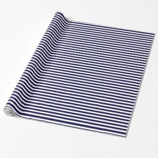 Modelo clásico de la raya de los azules marinos y papel de regalo
