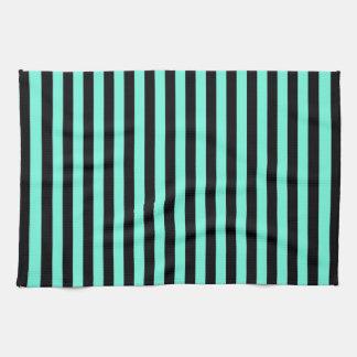 Modelo clásico de la turquesa y de la raya negra toallas de mano