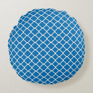 Modelo clásico de Quatrefoil Maroccan del azul Cojín Redondo