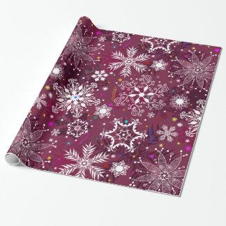 Modelo clásico del copo de nieve del día de fiesta papel de regalo