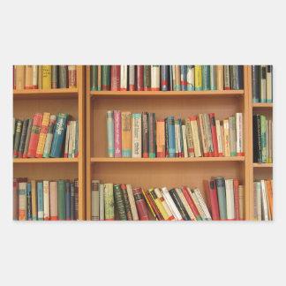 Modelo clásico del estante de librería, estante pegatina rectangular