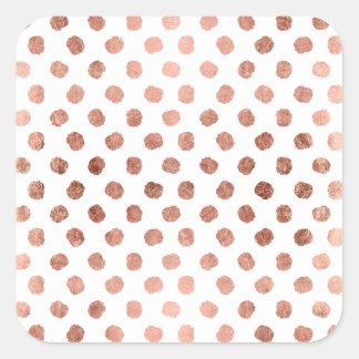 Modelo color de rosa de moda de las pinceladas de pegatina cuadrada