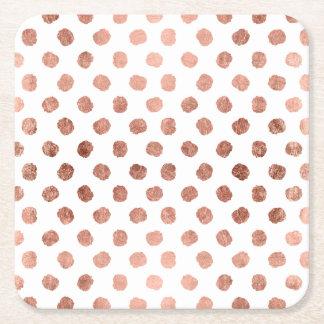 Modelo color de rosa elegante de las pinceladas de posavasos personalizable cuadrado