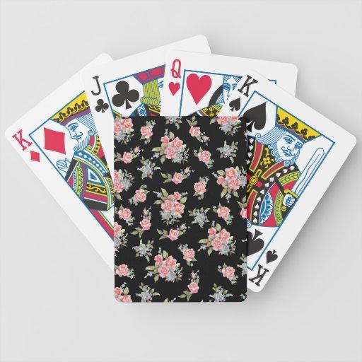 Modelo color de rosa floral del negro y del rosa baraja cartas de poker