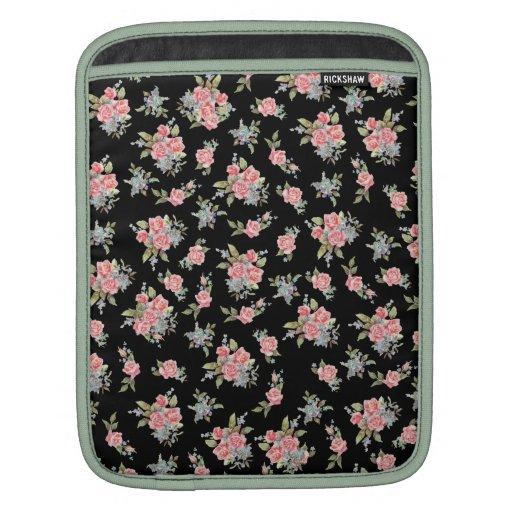 Modelo color de rosa floral del negro y del rosa funda para iPads