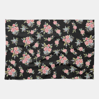 Modelo color de rosa floral del negro y del rosa toallas de mano