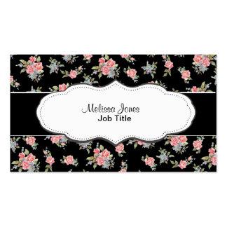 Modelo color de rosa floral del negro y del rosa tarjetas de visita