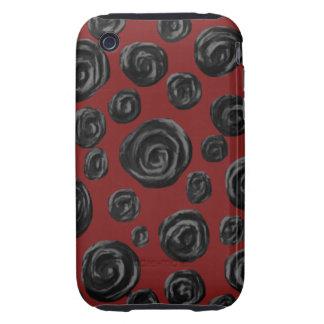 Modelo color de rosa rojo oscuro y negro iPhone 3 tough protector