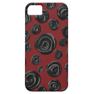 Modelo color de rosa rojo oscuro y negro iPhone 5 carcasa