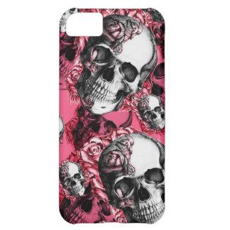 Modelo color de rosa rosado del cráneo funda iPhone 5C