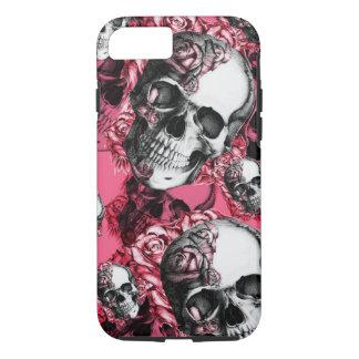 Modelo color de rosa rosado del cráneo funda iPhone 7
