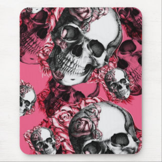 Modelo color de rosa rosado del cráneo tapete de raton