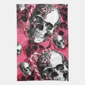 Modelo color de rosa rosado del cráneo toallas de mano