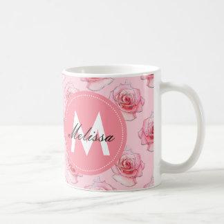 Modelo color de rosa rosado romántico elegante taza