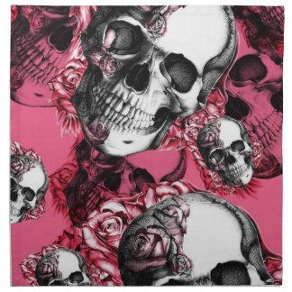Modelo color de rosa rosado y negro del cráneo servilletas