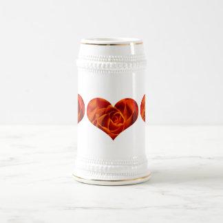 Modelo color de rosa Stein del corazón Jarra De Cerveza