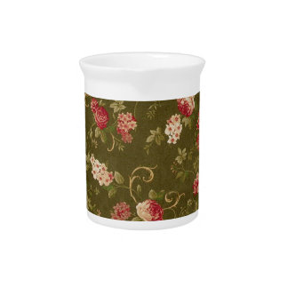 Modelo color de rosa y verde oliva retro jarras para bebida