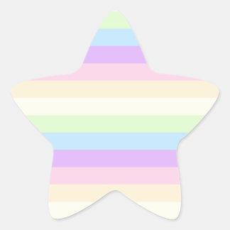 Modelo coloreado arco iris en colores pastel de la pegatina en forma de estrella