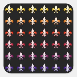 Modelo coloreado multi del negro de la flor de lis pegatina cuadrada