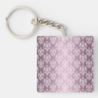 Modelo coloreado rosa polvoriento del damasco llavero cuadrado acrílico a una cara