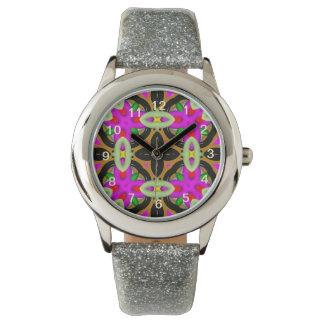 Modelo colorido abstracto del caleidoscopio relojes de pulsera