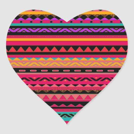 Modelo colorido azteca al sudoeste calcomania corazon personalizadas