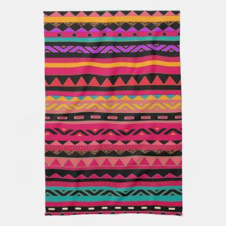 Modelo colorido azteca mexicano hermoso toalla de mano