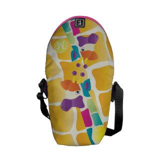 Modelo colorido brillante de la jirafa del bolsa messenger